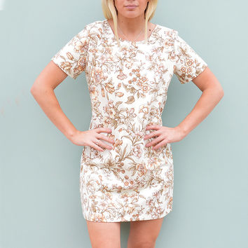 Short Sleeve Shift Dress in Autumn Floral Handmade by Laura Ralph