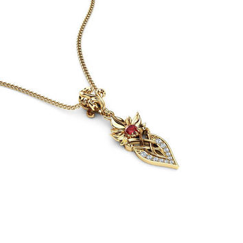 Art Nouveau Ruby Pendant 14K Yellow Gold Ruby Jewelry Necklace Anniversary Gift July Birthstone Pendant