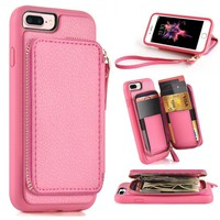 iPhone 7 Plus / iPhone 8 Plus Wallet Case, ZVE iPhone 8 Plus Case with Card Holder Slot Leather Wallet Case Cover Handbag for Apple iPhone 7 Plus / iPhone 8 Plus 5.5 inch - Rose
