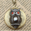 Steampunk Owl Locket Necklace Vintage Style by sallydesign
