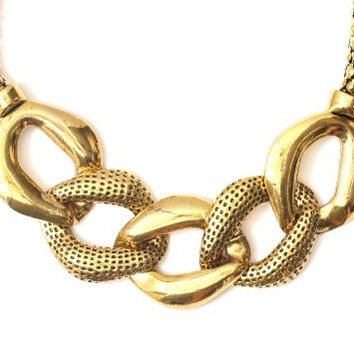 Large Linked Chains Necklace Gold Tone NH43 Vintage Statement Collar Fashion Jewelry