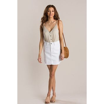 Lettie Oatmeal Twist Button Cami