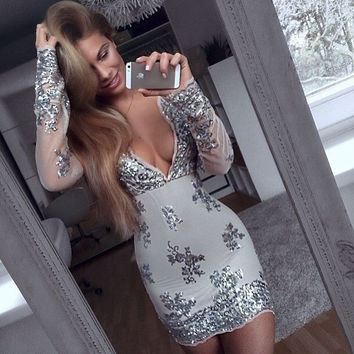 ‰ªÁ Long sleeve Sequined Dresses Holiday ‰ªÁ