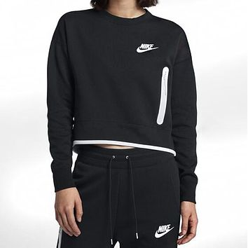 Nike Trending Women Stylish Print Long Sleeve Velvet Sweater Top Pants Trousers Set Two-Piece Black