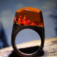 Fashion Rings for Men Women Wooden Resin Rings Handmade Jewelry Gifts 2017 Magical Worlds
