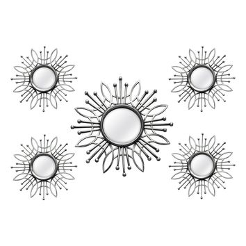 Hermoso Silver Burst Wall Mirror (Set of 5)