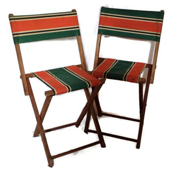 Antique Vintage Child's Folding Chairs-Wood and Striped Canvas-Set of 2-Summer Lounge Chairs-Beach Chair-Deck Chair-Home Decor-Green Orange