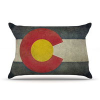 "Bruce Stanfield ""State Flag of Colorado"" Black Red Pillow Case"
