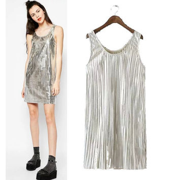 Stylish Round-neck Metal Vest Dress Women's Fashion One Piece Dress [5013348100]