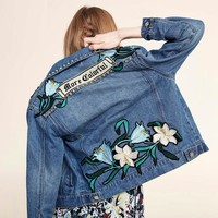 Denim Stylish Slim Long Sleeve Embroidery Jacket [206225801242]