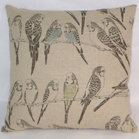 "Parakeet Throw Pillow Waverly Retweet 17"" Square All Linen Beige Tan Silver Gold Budgie Bird on Branch Insert Included Ready Ship"