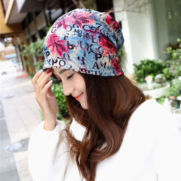 Hot maple letters women beanie hat unisex cap scarf winter visors