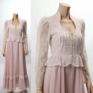 Vintage 70s Gunne Sax Sheer Lace Maxi Dress 1970s Lavender Gauze Hippie Victorian Wedding Corset Lace Up Long Dress Edwardian Renaissance