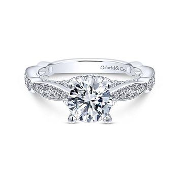 14K White Gold 1.58cttw Vintage Station Round Diamond Engagement Ring