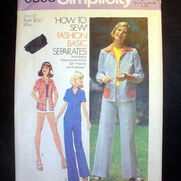 Women's Vintage 1970's Fashion Basic Separates Misses' Size 10 Simplicity 6808 Sewing Pattern Uncut