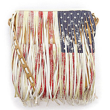 Steve Madden Flag Print Fringe Cross-Body Bag -