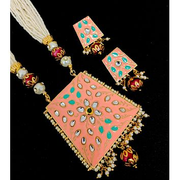 Seed bead Trapezium pendant Necklace and Stud Earring set