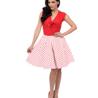 Unique Vintage 1950s Style Red & White Knotted Dash Print Downtown Swing Dress