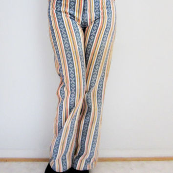 60s Torn Striped Levi's Jeans, S-M, W28 L29 // White Tab Big E High Waist Levis Pants