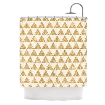 "Nika Martinez ""Glitter Triangles in Gold"" Tan Yellow Shower Curtain"