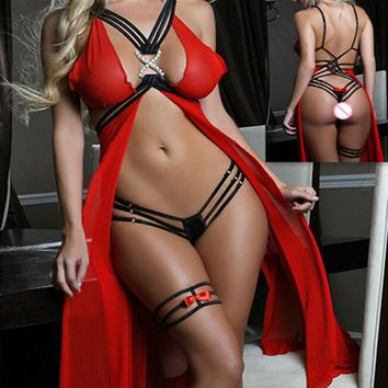 Sexy Lingerie women slips sex toy Exotic lingerie sexy costumes intimate sleepwear underwear gauze transparent chest split skirt