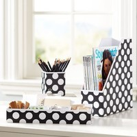 Preppy Paper Desk Accessories - Black Dottie