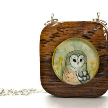 wooden owl necklace, hand painted pendant- spring jewelry - circle square geometric necklace- modern jewelry -winery wood