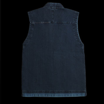UNIONMADE - BLUE BLUE JAPAN - Sashiko Hand Stitched Patch Work Sleeveless Jacket in Blue