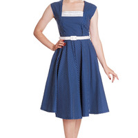 Hell Bunny 50's Vintage Style Country Girl Polka Dot Square Neck Flare Party Dress