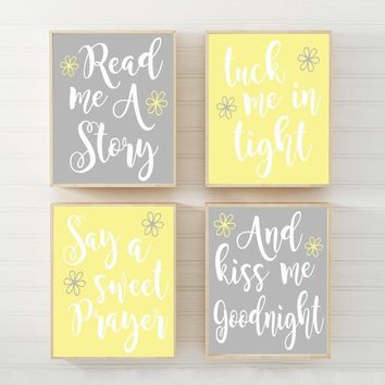 YELLOW GRAY Nursery Wall Art, Nursery Quote CANVAS or Print Nursery Quote Decor, Read Me A Story,Kiss Me Goodnight, Baby Crib Decor Set of 4