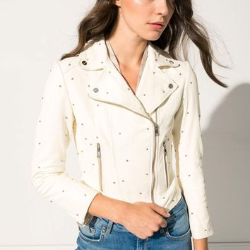 PIPER White Studded Leather Jacket | PIPER Veste en cuir blanche clouté