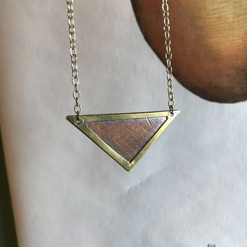 Copper Triangle Pendant Stamped Snakeskin