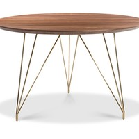 Thayer Dining Table WALNUT/BRUSHED GOLD