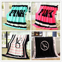 Six Color Victoria Brand VS Secret Pink Blanket 130x160cm Thrown Blankets on Bed/sofa Coral Fleece Home Blanket Free Shipping