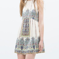 Paisley Floral Print Keyhole Back Sleeveless Dress