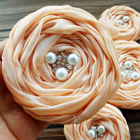 Peach Fabric Roses Handmade Appliques Embellishments(5 pcs)