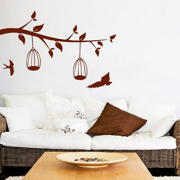 Birds Wall Decal Tree Vinyl Stikers Bird Cage Decor Art Mural Home Design Interior Living Room Animal Decor Boho Bedroom Wall Decal KY127