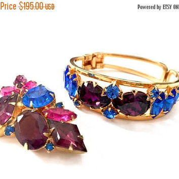 Juliana D&E Amethyst  Blue Rhinestone Demi, Clamper Bracelet Brooch Set, Brilliant Colors, Vintage, Wedding Jewelry, Special Occasion