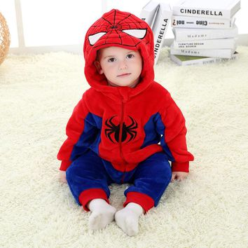 AZEL 0-24 Month 3D Cartoon Spiderman Superhero Baby Romper Cotton Flannel Jumpsuit 2017 High Quality Spring Autumn Baby Clothes