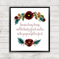 Watercolor Floral Quote Art, Watercolor, Floral, Scripture, Art Print