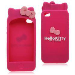 Hello Kitty Bowknot Series Cute Silicone Case for iPhone 4 4S - Rose