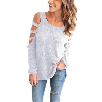 young girls scoop neck hollow out long sleeved cotton tops shirts plus size casual solild bottoming blouse blusa lx136