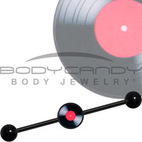 14 Gauge Black Anodized Red Label Record Industrial Barbell 37mm