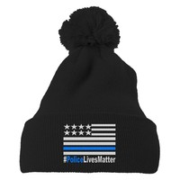 Police Lives Matter Embroidered Knit Pom Cap