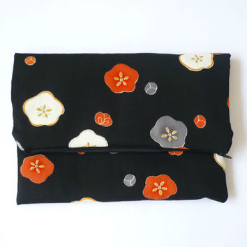 Black fold over clutch with Japanese silk kimono of black and red floral pattern, monogrammed black silk evening purse