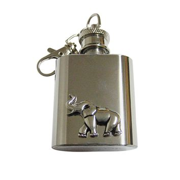 Silver Toned Elephant 1 Oz. Stainless Steel Key Chain Flask