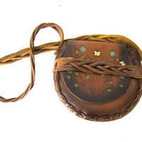 vintage brown tooled leather purse with flowers and butterflies / small boho chic Hippie festival bag / braided strap