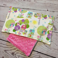 Baby Burp Cloth,Handmade Burp Pads,Owl Print,Baby Girl Cloths,Pink Minky,Baby Accessories,Baby Shower Gift,Baby and Child Care,Burp Rags