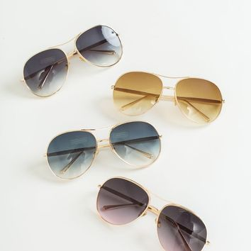 Camille Gold Rimmed Aviator Sunglasses