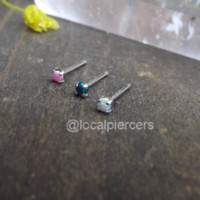 "Titanium Opal Nose Rings 20g 1/4"" Tragus Piercing Tiny Dainty Stud Earring Pink Green White Opals Body Jewelry 